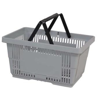 28L Plastic Hand Basket with NH Light grey large