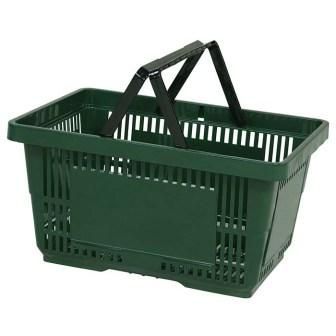 28L Plastic Hand Basket with NH dark green large