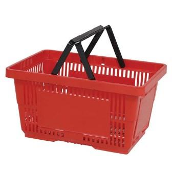 28L Plastic Hand Basket with NH red large
