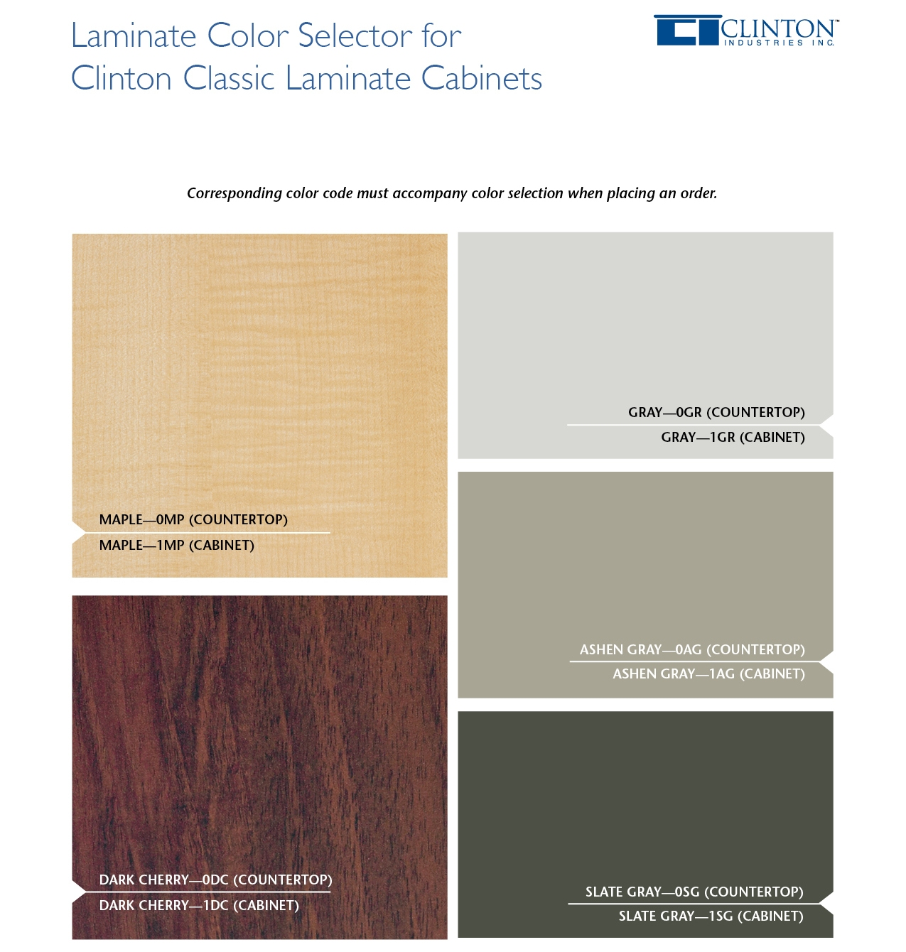 Classic Laminate Cabinets Color Selections