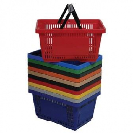 28L Plastic Hand Basket with NH nested variety colors large