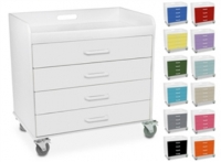 Polyethylene Extra Wide Compact Locking 4 Drawer Cart
