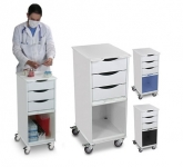 White Polyethylene Core SP Space Saving Lab Cart
