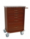 Wood Vinyl 6 Drawer Treatment Cart