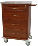Wood Vinyl 4 Drawer Treatment Cart